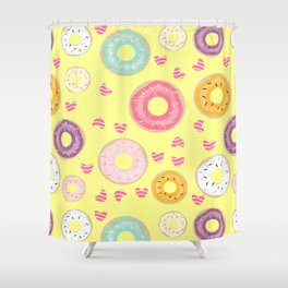 hearts and donuts yellow Shower Curtain