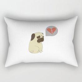 Broken hearted-pug Rectangular Pillow