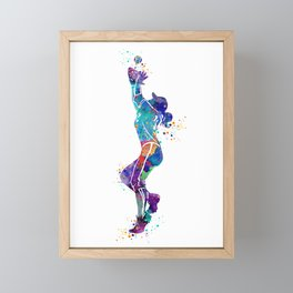 Girl Baseball Player Softball Fielder Colorful Watercolor Art Framed Mini Art Print