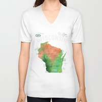 wisconsin V-neck T-shirts featuring Wisconsin Map by Stephanie Marie Steinhauer