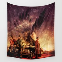 alicexz Wall Tapestries featuring Carry On My Wayward Son by Alice X. Zhang