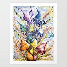 Wizard Mushrooms Art Print
