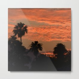 Desert Sunset With Palm Tress in Silhouette Metal Print