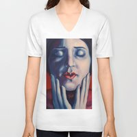 tina crespo V-neck T-shirts featuring Buonanotte Tina Modotti by Kristina Gufo