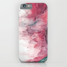 Watercolor pink & green, abstract texture iPhone 6s Slim Case