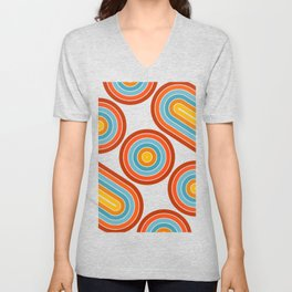 Retro Motion 2 – Orange / Yellow / Blue Abstract Stripe Pattern Unisex V-Neck