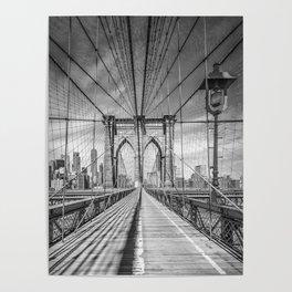 NEW YORK CITY Brooklyn Bridge | Monochrome Poster