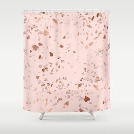 Rose Gold Pink Terrazzo Shower Curtain
