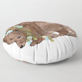 Bear with flower boa Floor Pillow