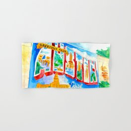 Greetings From Austin Mural watercolor Hand & Bath Towel