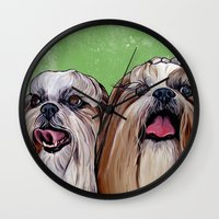 shih tzu Wall Clocks featuring Shih Tzu Dog Art by WOOF Factory