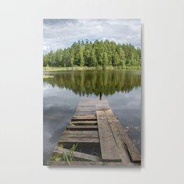 Sunken deck in the water I Estonia I photo art print Metal Print