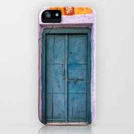 Antique Purple Door at Fort in Jaisalmer Rajasthan India iPhone Case