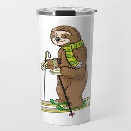 Beautiful sloth at skiing Travel Mug