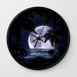 A night at the beach in paradise Wall Clock
