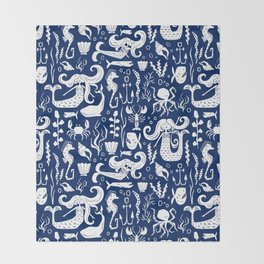 Under The Sea Navy Blue Throw Blanket