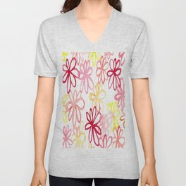 sangria floral Unisex V-Neck