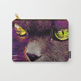 persian cat great eyes evil look vector art late sunset Carry-All Pouch