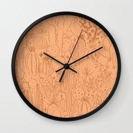 Cactus Scene in Orange Wall Clock