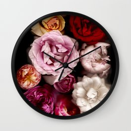 Red, White, Yellow, and Pink Roses Wall Clock