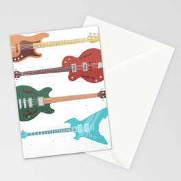 Colorful Bass Guitar Stationery Cards