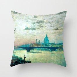 Southwark Bridge and St. Paul's church by John Atkinson Grimshaw Throw Pillow