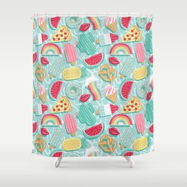 Epic pool floats top view // aqua background Shower Curtain