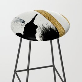 Armor [8]: a minimal abstract piece in black white and gold by Alyssa Hamilton Art Bar Stool