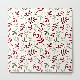 Assorted Leaf Silhouettes Ptn Reds Greens Cream Metal Print