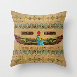 Egyptian Goddess Isis Ornament on papyrus Throw Pillow