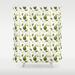 Watercolor seamless pattern with pears Conference and leaves. Botanical isolated illustration.  Shower Curtain