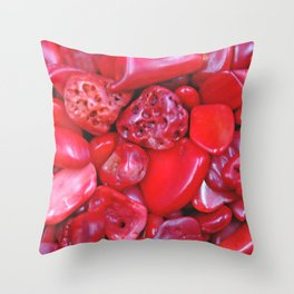 Red Bamboo Coral Throw Pillow