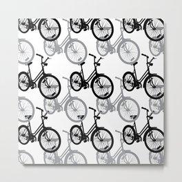 Bicycles Gray Metal Print