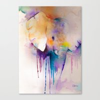 baby elephant Canvas Prints featuring baby elephant by Laura Ferro