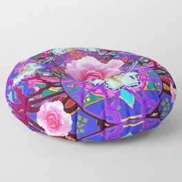 PINK ROSES WHITE BUTTERFLIES  PURPLE NATURE  ART Floor Pillow