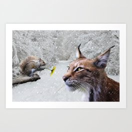 Lynx and Squirrel Art Print
