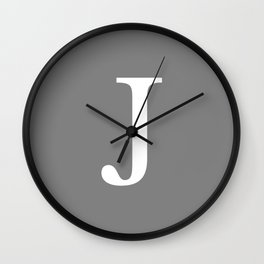 Darker Gray Basic Monogram J Wall Clock