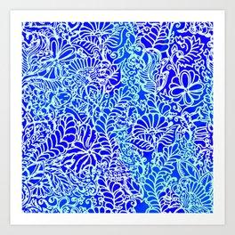Jungle Garden, Blue Art Print