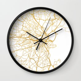 BOSTON MASSACHUSETTS CITY STREET MAP ART Wall Clock