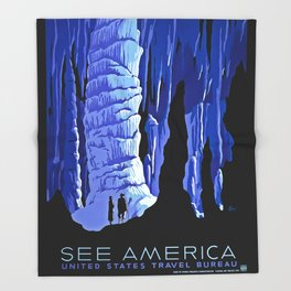 See America blue grotto vintage travel Throw Blanket