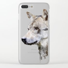 Wolf watercolor Clear iPhone Case