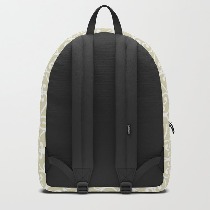 Abstract pattern.White ornament on beige background. Backpack