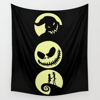 nightmare before christmas Wall Tapestries featuring Nightmare Before Christmas by Linda V.