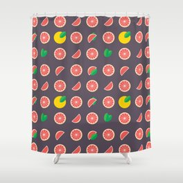 Abstract red yellow purple grapefruits pattern Shower Curtain