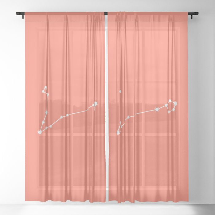 Pisces Zodiac Constellation - Coral Red Sheer Curtain