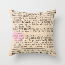 Love Dictionary Page With Sketchy Pink Heart Throw Pillow