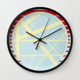 Crossroads ll - red graphic Wall Clock