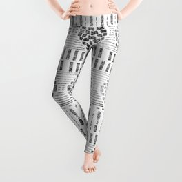 Aztec I Pattern Black and White Leggings