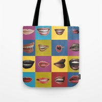 lip Tote Bags featuring Lip Pop by wrkdesigns