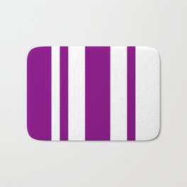 Mixed Vertical Stripes - White and Purple Violet Bath Mat